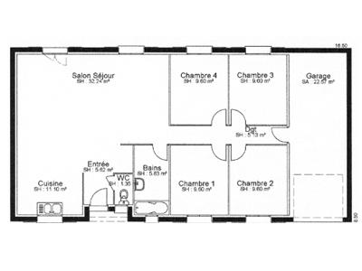 Plan de la maison individuelle cl matite plain pied for Plan maison individuelle plain pied