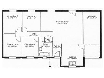 Plan du mod le magnolia maison individuelle de plain for Maison a batir plain pied