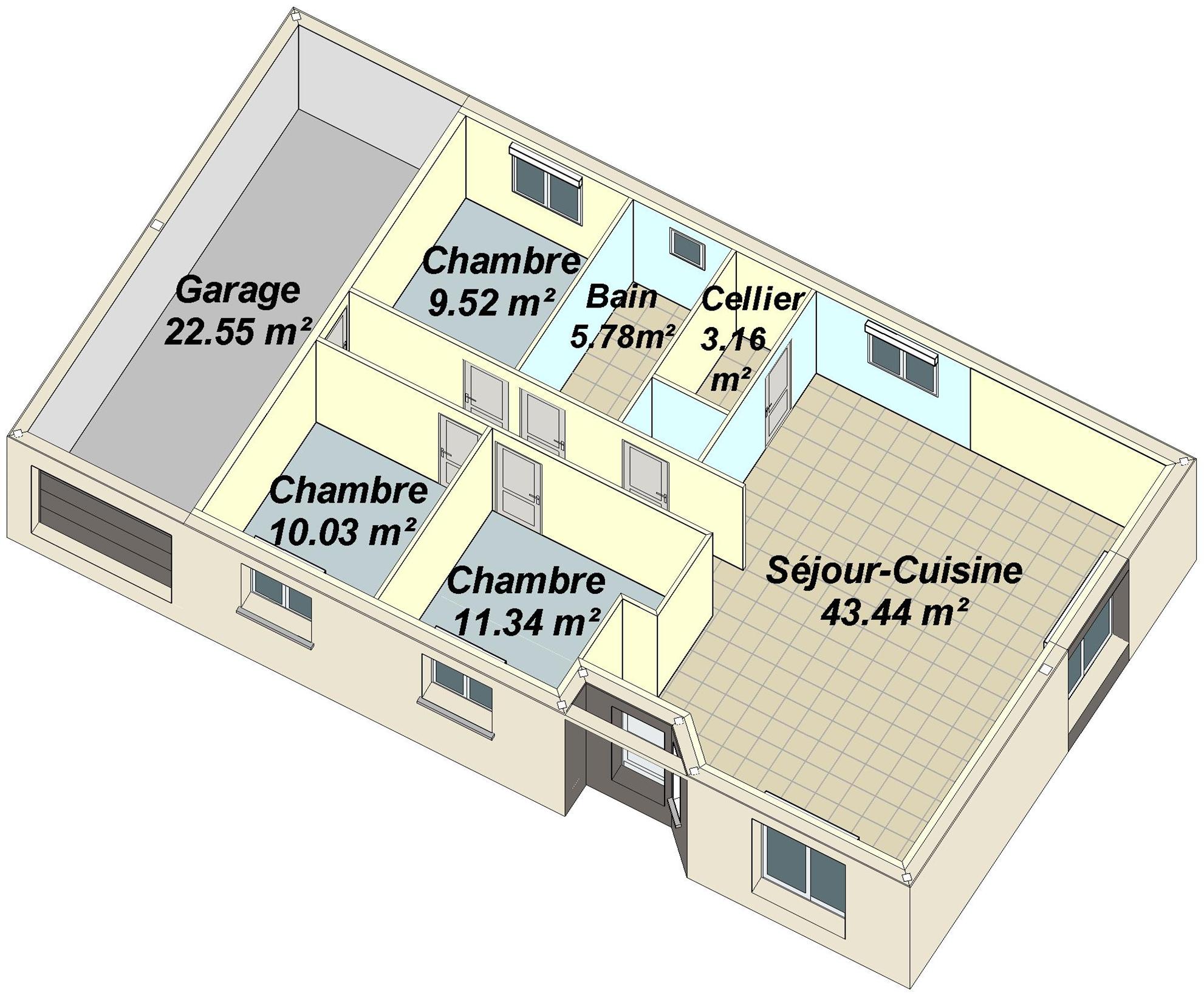 En haut Plan Maison Plain Pied 4 Chambres 3d @FX59 | Aieasyspain #ID_75