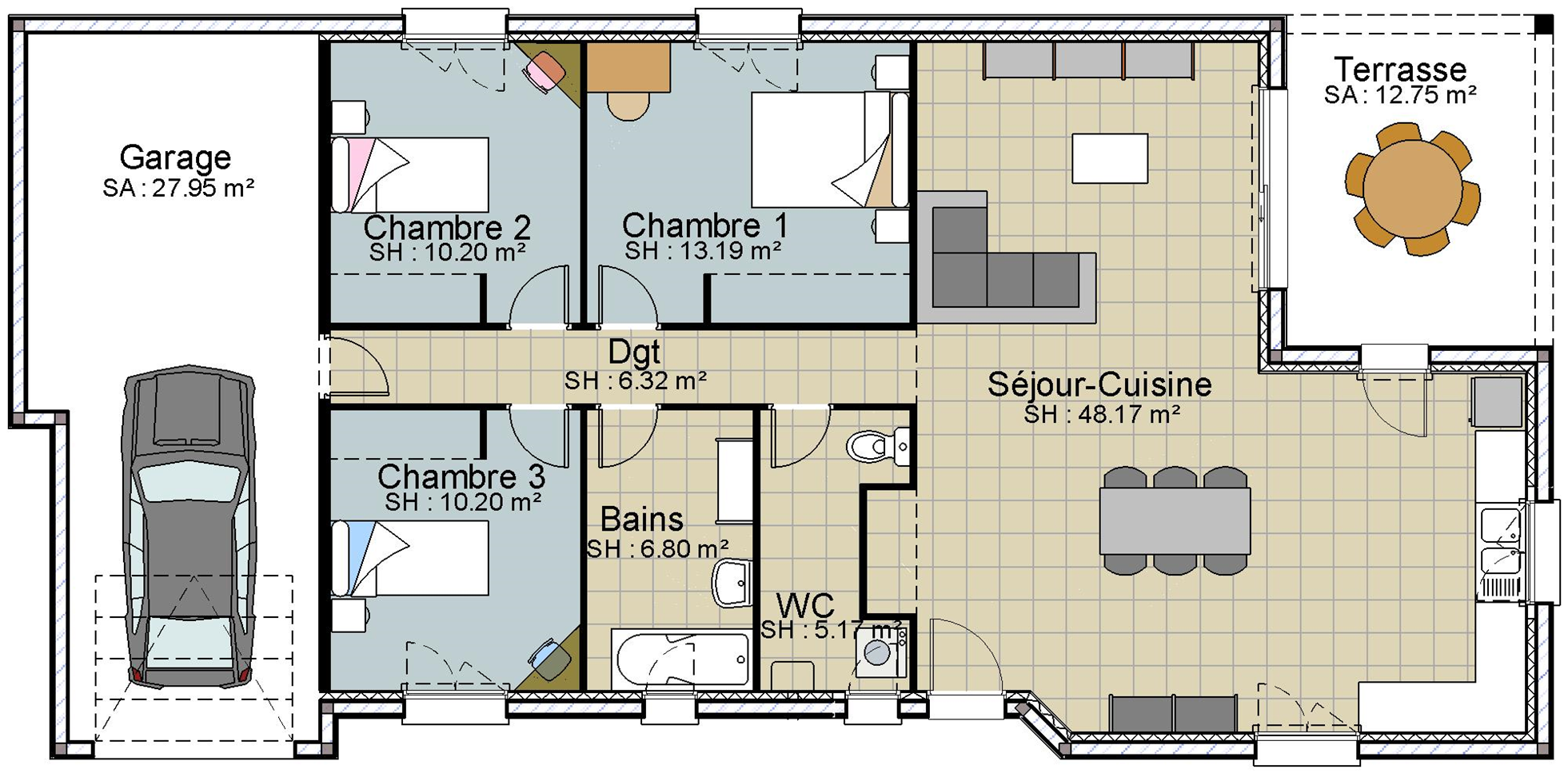 maison plain pied 88m2